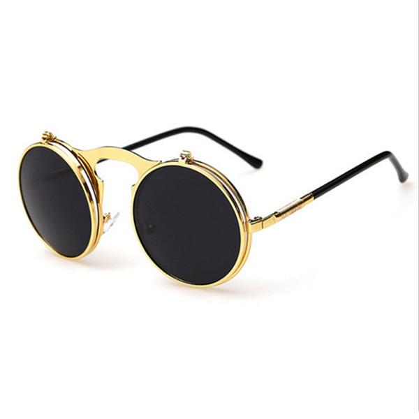 Round Bulky Flip Up Sunglasses – Gold   Gray 1a770e2be75c
