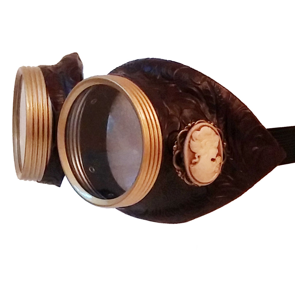 brown faux leather cameo goggles - 3/4 view