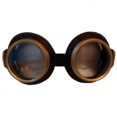 Brown faux leather goggles with side cameo