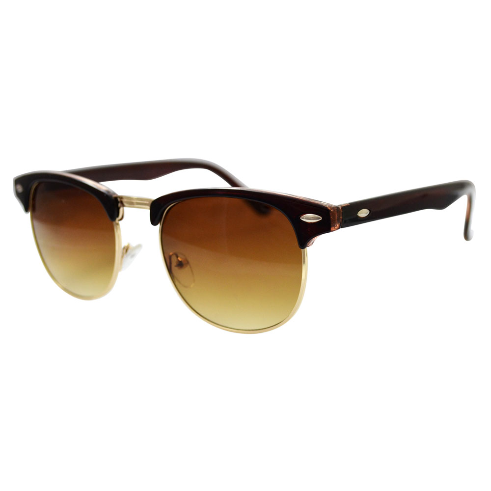 Brown Clubmaster Sunglasses With Gold Accents
