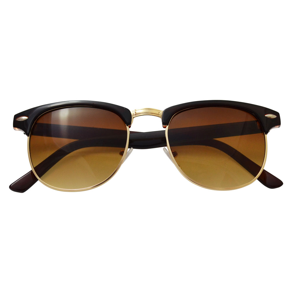 Brown Clubmaster Sunglasses With Gold Accents - Folded