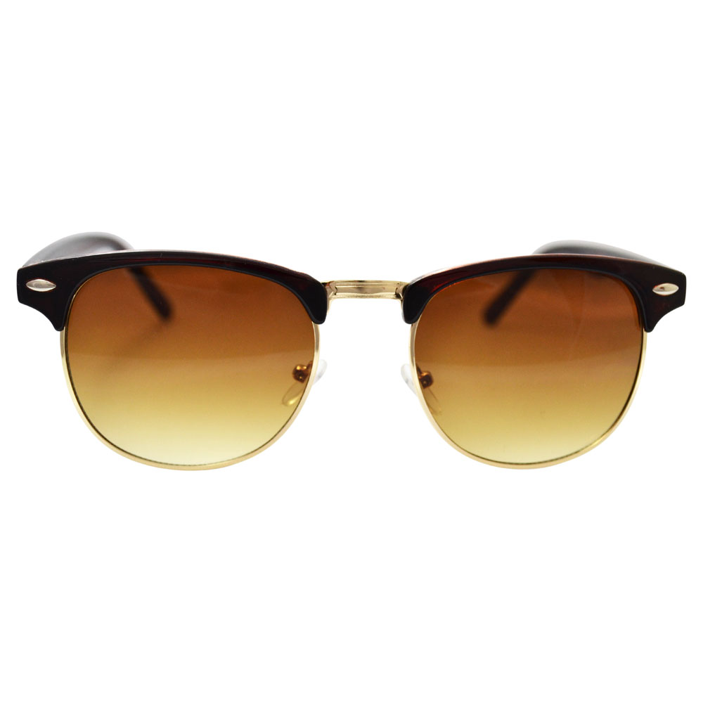 Brown Clubmaster Sunglasses With Gold Accents - Front
