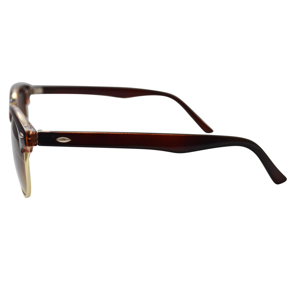 Brown Clubmaster Sunglasses With Gold Accents - Side
