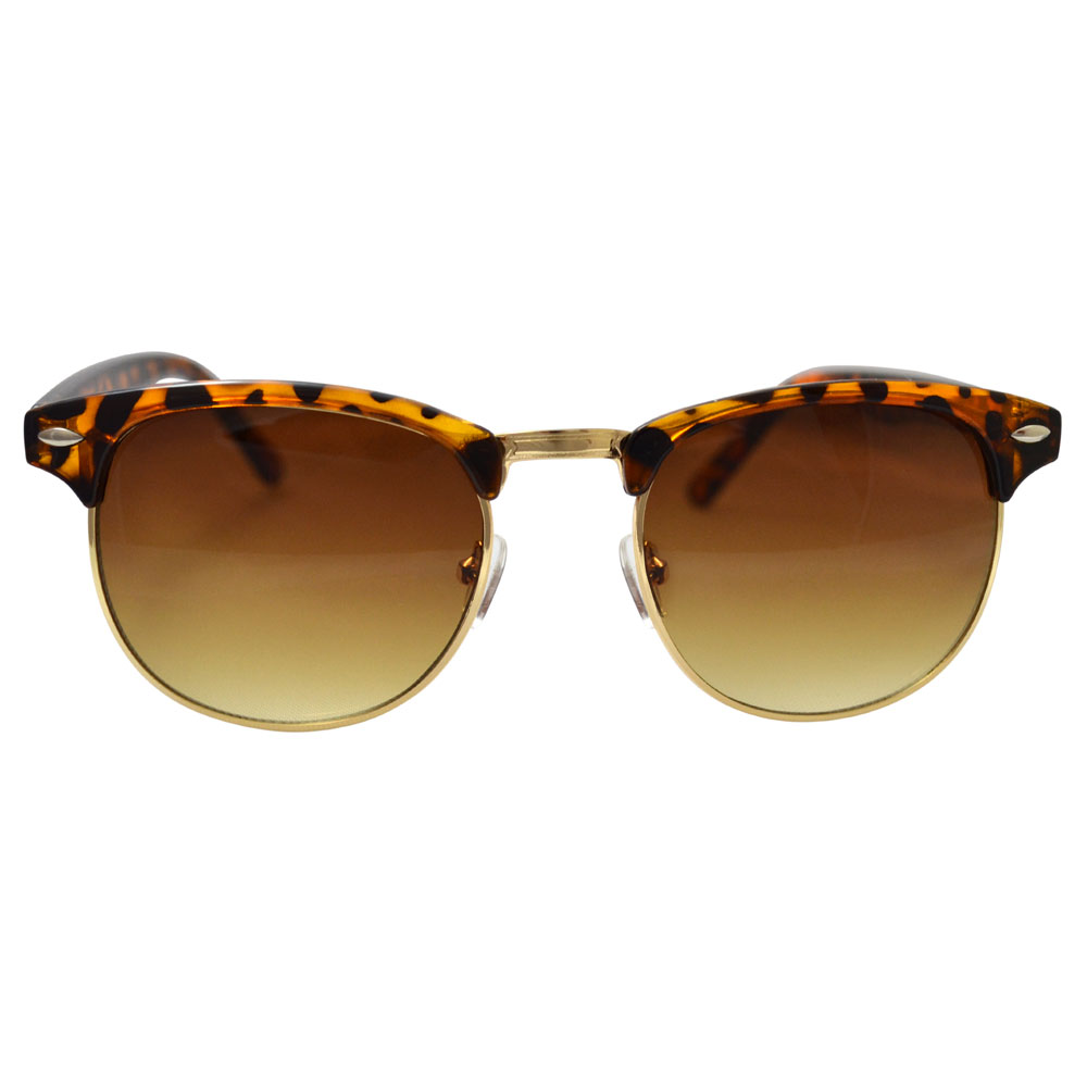 Cheetah Print Clubmaster Sunglasses With Gold Accents