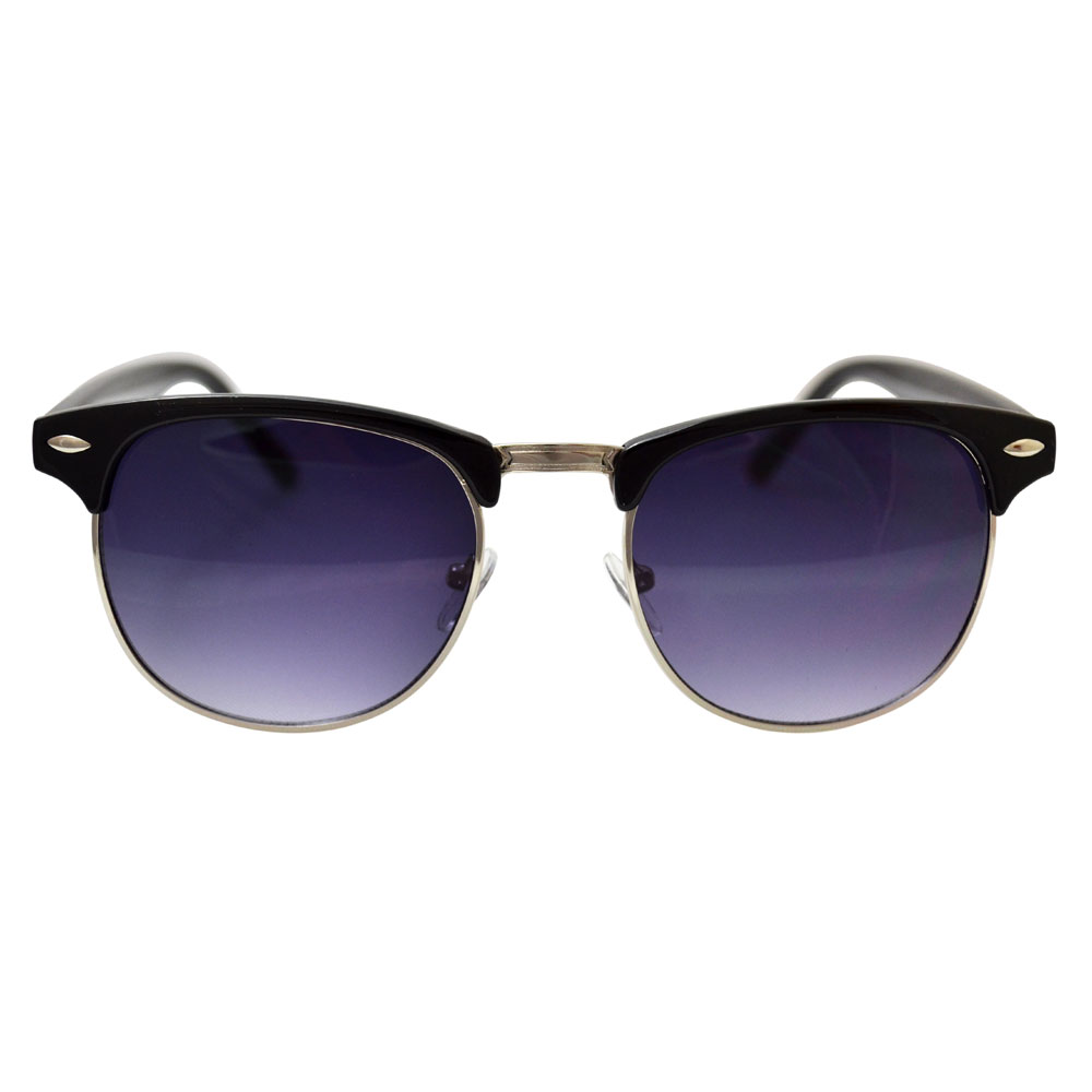 Dark Purple Clubmaster Sunglasses With Gold Accents