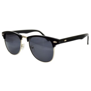 Clubmaster Sunglasses: Glossy Black, Gold Accents & Dark Lenses