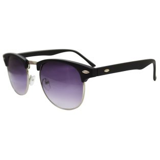Purple Clubmaster Sunglasses, Matte Black With Gold Accents