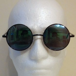 aqua blue lenses with black frame & black temple covers - front