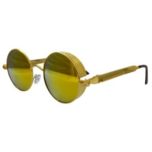 Gold Sunglasses with Spring Temples & Golden Red Lenses