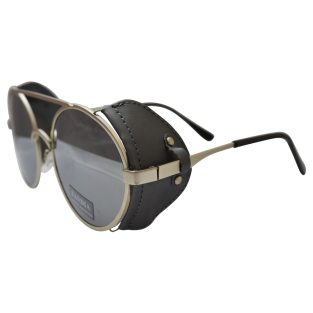 silver toned sunglasses with black fabric wind guards and mirrored lenses
