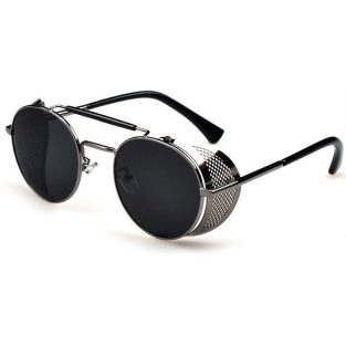 Gunmetal gray sunglasses with fold in side shields & smoke gray lenses