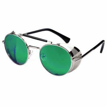 Oval Sunglasses With Folding Side Shields: Silver Frame & Blue / Green Semi-Mirrored Lenses