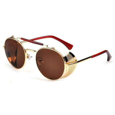 Gold Oval Sunglasses: Fold In Side Shields, Brown Lenses