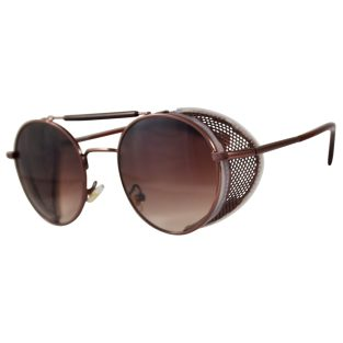 Bronze Oval Sunglasses: Fold In Side Shields, Brown Gradient Lenses