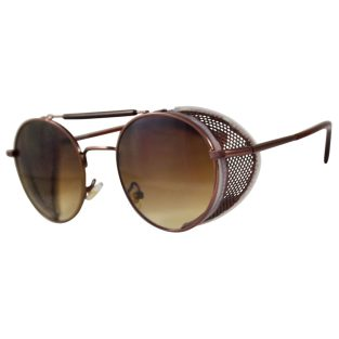 Bronze Oval Sunglasses: Fold In Side Shields, Brown Lenses