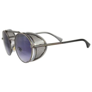 Gunmetal Oval Sunglasses: Fold In Side Shields, Purple Lenses