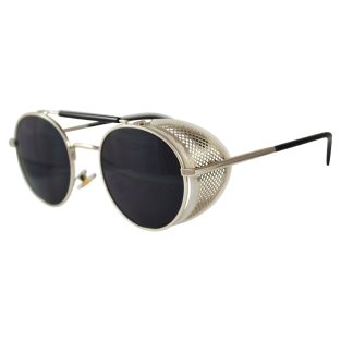 Silver Oval Sunglasses: Fold In Side Shields, Dark Lenses