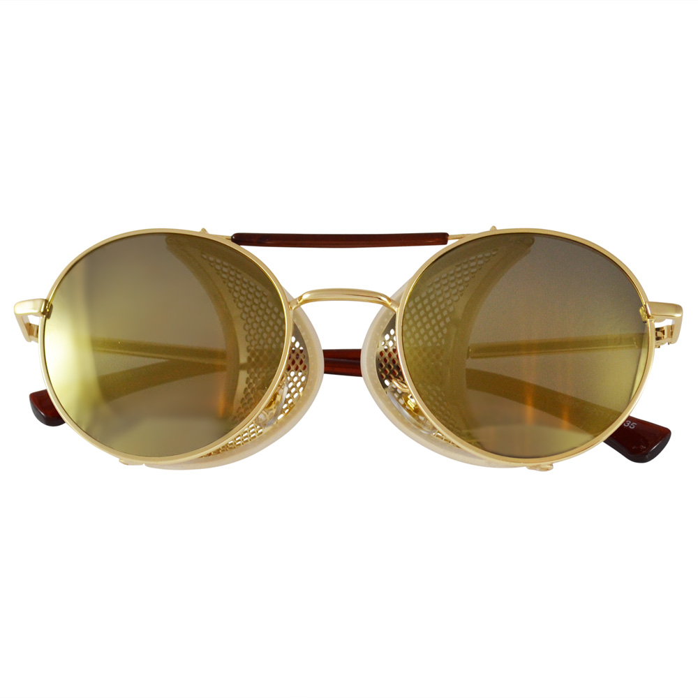 Gold tone Oval Sunglasses: Fold In Side Shields, Gold Lenses