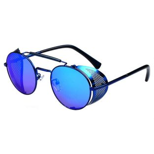 Oval Sunglasses With Folding Side Shields: Blue & Blue Semi-Mirrored Lenses