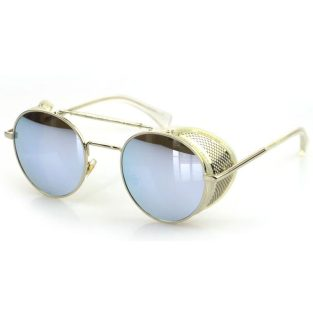 Oval Sunglasses With Folding Side Shields: Silver & Silver Mirrored Lenses