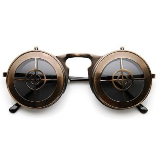 Round Flip-Up Target Sunglasses in Bronze