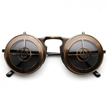 Flip Up Sharpshooter Steampunk Glasses Bronze