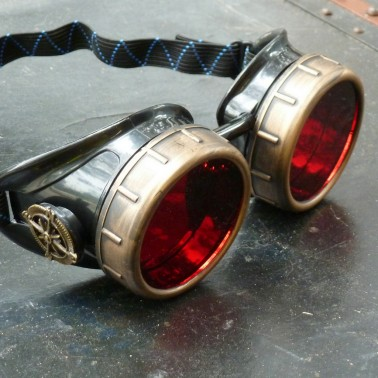 Steampunk Navigator Goggles With Red Lenses