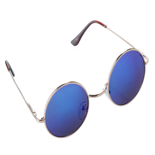 Small Round Sunglasses - Blue Lenses in Gold 8ef5ee7aeeb