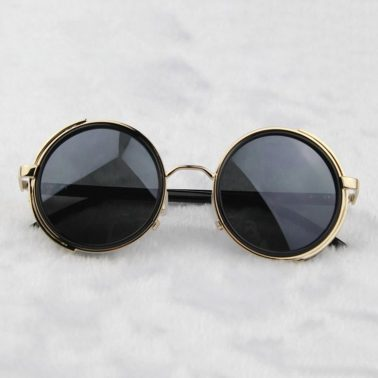 Steampunk Glasses - Gold & Gray With Side Shields - folded