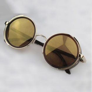 Gold Steampunk Glasses - Yellow Lenses