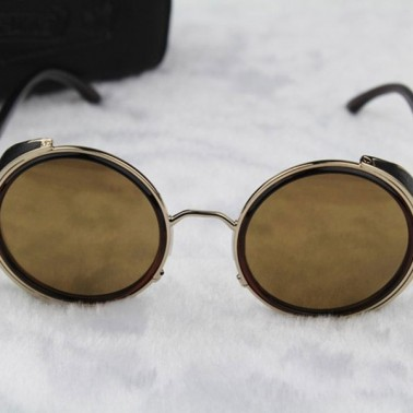 Gold Steampunk Glasses - Yellow Lenses - Front