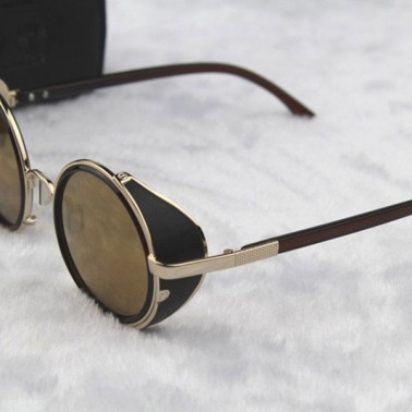 Gold Steampunk Glasses - Yellow Lenses - Side