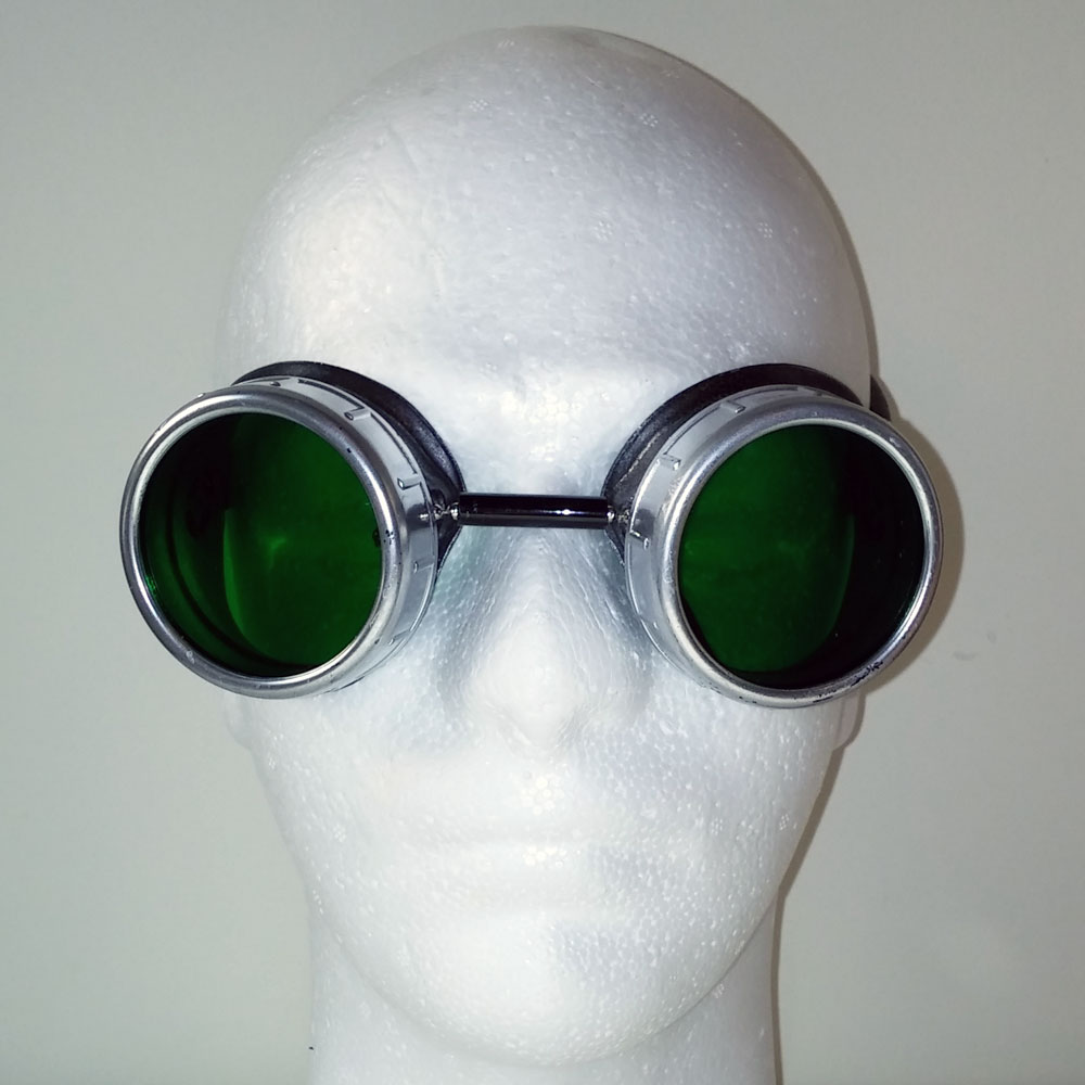 Green Pearl Goggles With Silver Eye Cups