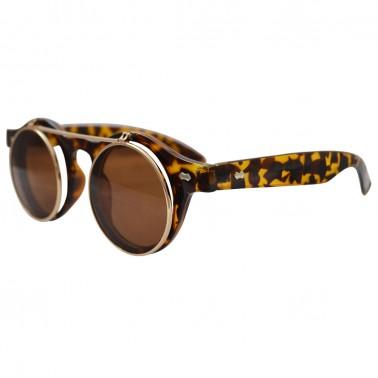 Brown tortoise shell horn-rimmed glasses with gold flip-up lenses