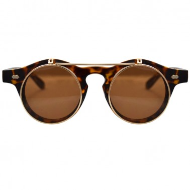 Brown tortoise shell horn-rimmed glasses with gold flip-up lenses - front, closed