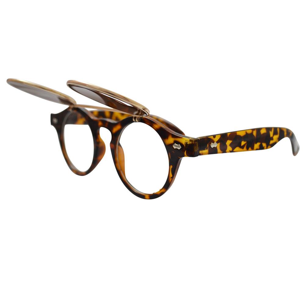 Brown tortoise shell horn-rimmed glasses with gold flip-up lenses - side, open