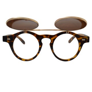 Brown tortoise shell horn-rimmed glasses with gold flip-up lenses - front, open