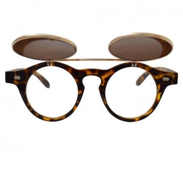 Brown tortoise shell horn-rimmed glasses with gold flip-up lenses - front, open