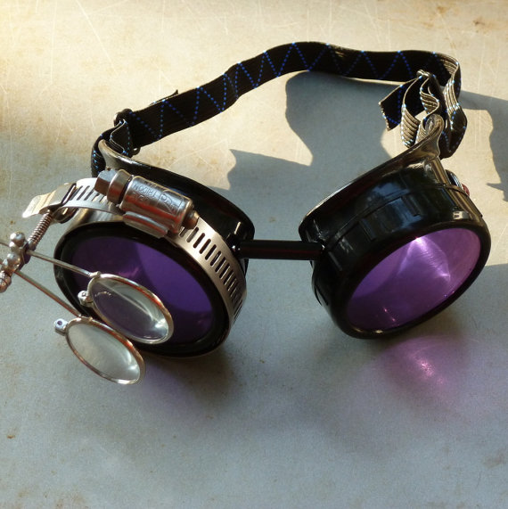 Black Goggles: Purple Lenses w/ Eye Loupe & Brownish-Red Turquoise Side Pieces