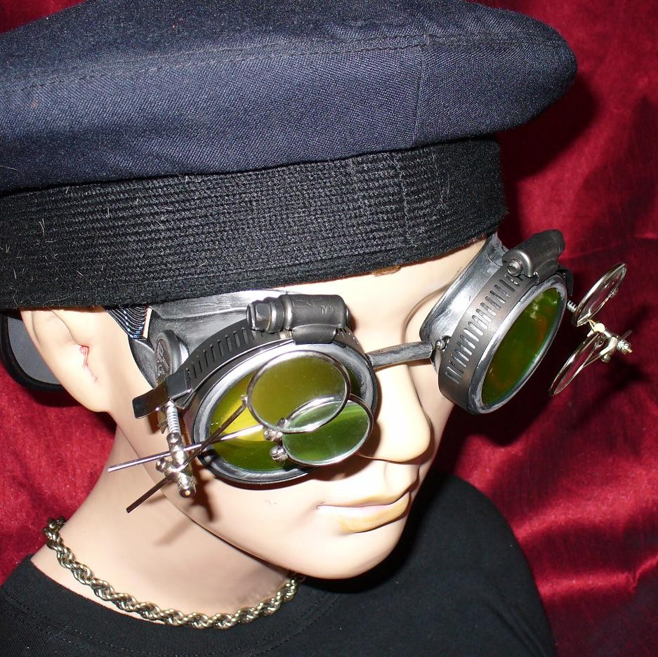 Silver Toned Goggles: Yellow Lenses w/ Two Eye Loupes