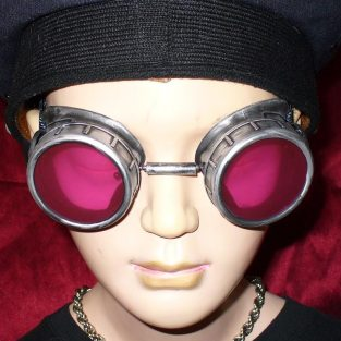 Silver Toned Goggles: Pink Lenses
