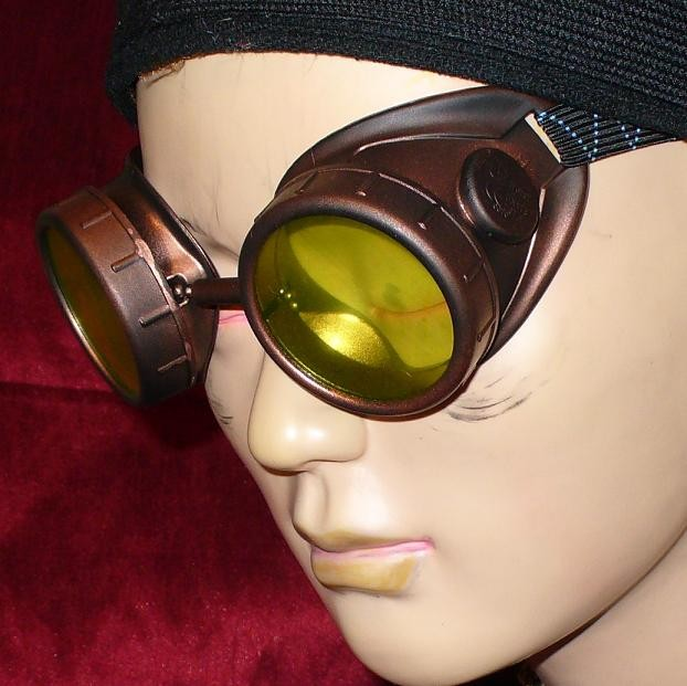 Dark Brown Goggles: Green Lenses