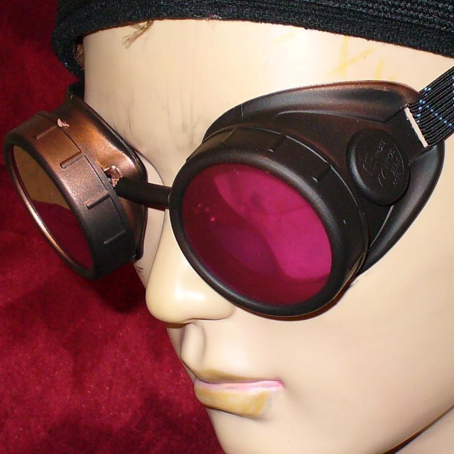 Dark Brown Goggles: Pink Lenses