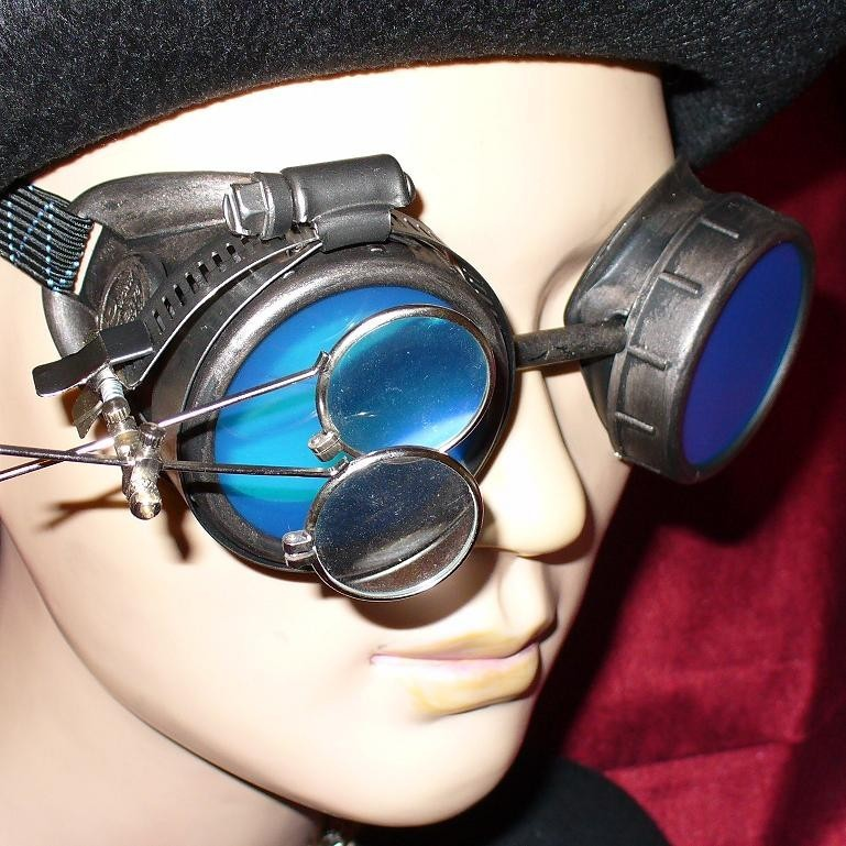Brown Toned Goggles: Blue Lenses & Eye Loupe