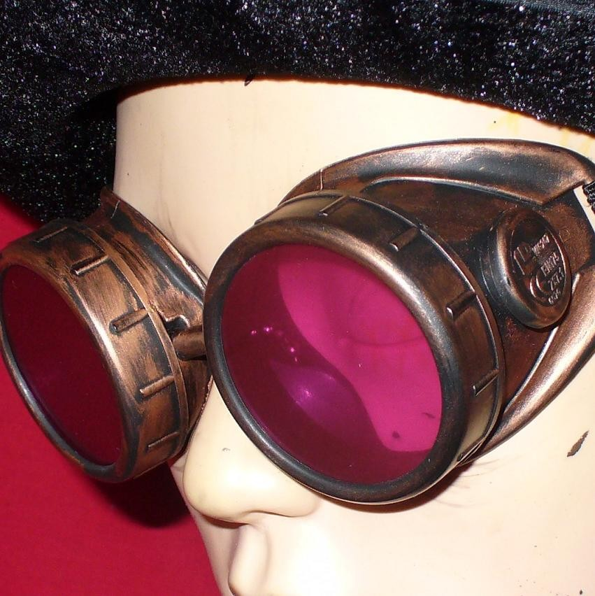 Copper Toned Goggles: Pink Lenses