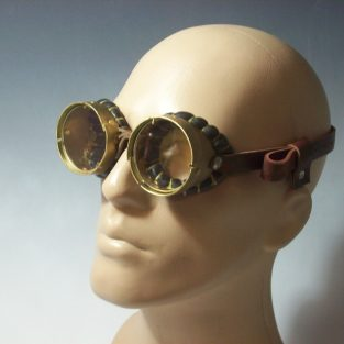 Brass Steampunk Goggles Mad Scientist Neo Victorian Jules Verne