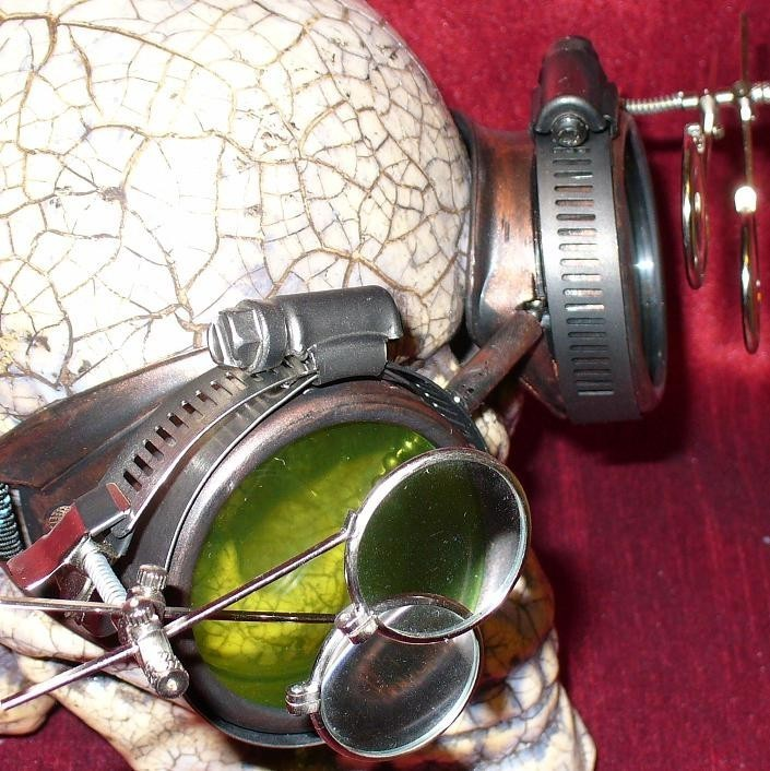 Copper Apocalypse Goggles w/ Green Lenses & Eye Loupe
