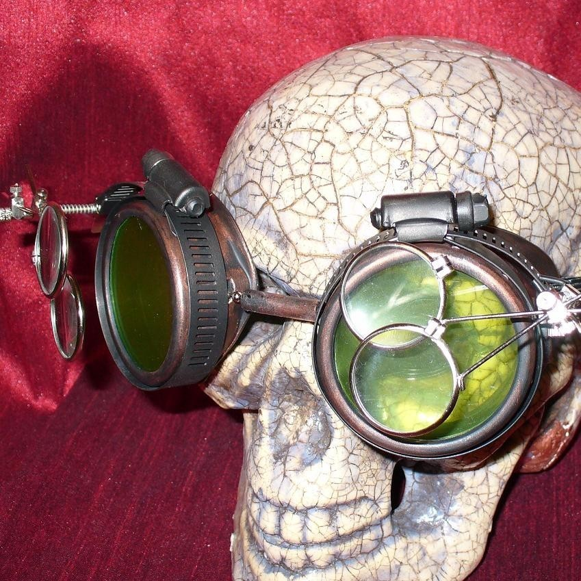 Copper Apocalypse Goggles w/ Green Lenses & Eye Loupe