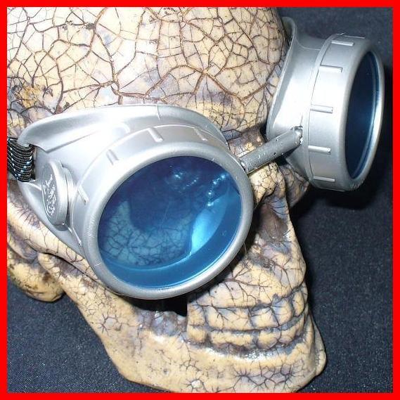 Silver Apocalypse Goggles: Blue Lenses