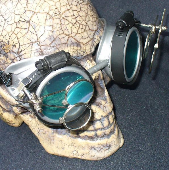 Silver Apocalypse Goggles w/ Blue Lenses & Two Eye Loupe